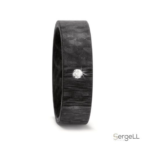 Anillo carbono titanio negro para hombre moderno original anillos fibra carbono joyerias murcia