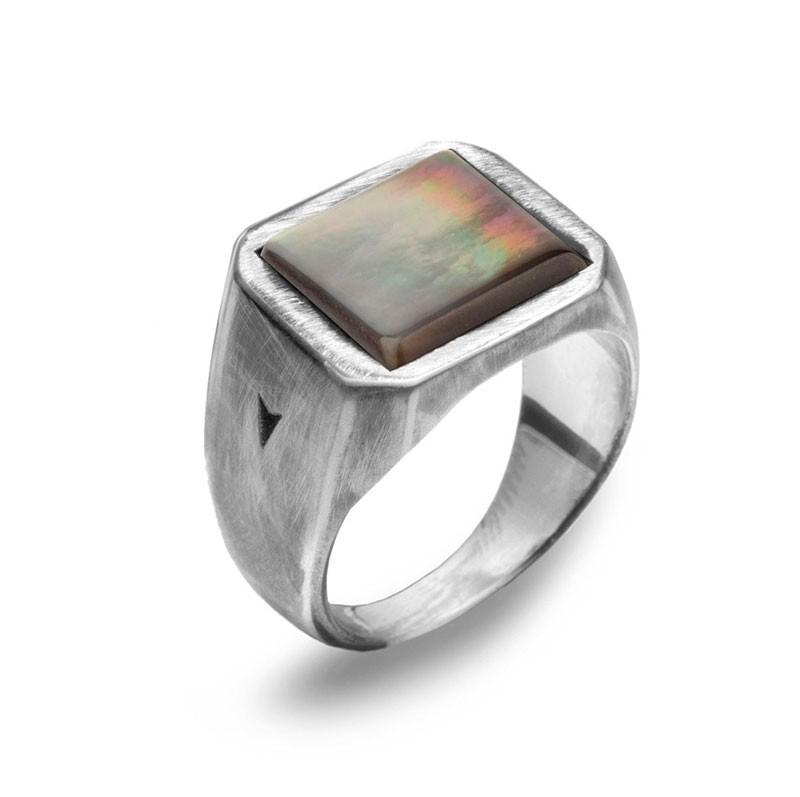 Anillo tipo sello, sellos para hombre, anillos de plata