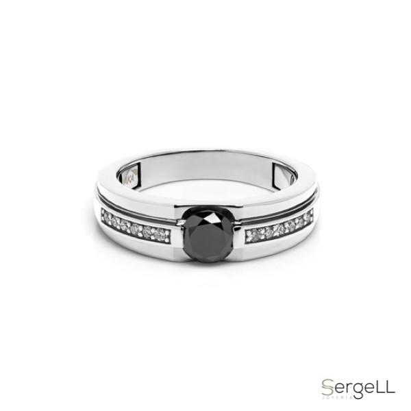 anillo or blanco con diamante negro para hombre